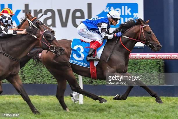 Brave Smash ridden by Craig Williams wins the italktravel Futurity Stakes at Caulfield Racecourse on February 24 2018 in Caulfield Australia