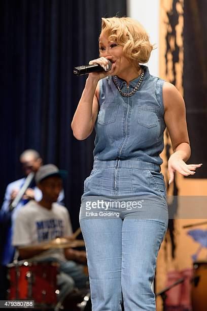 Brave Williams of RB Diva's LA performs diring a taping of Music Choice's Behind The Lines at LB LandryOP Walker High School Auditorium on July 3...