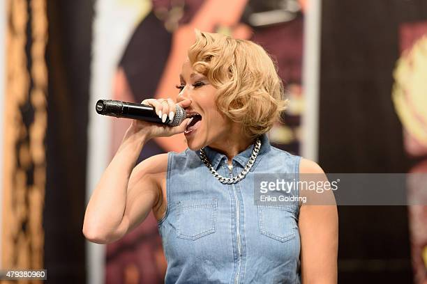 Brave Williams of RB Diva's LA performs during a taping of Music Choice's Behind The Lines at LB LandryOP Walker High School Auditorium on July 3...