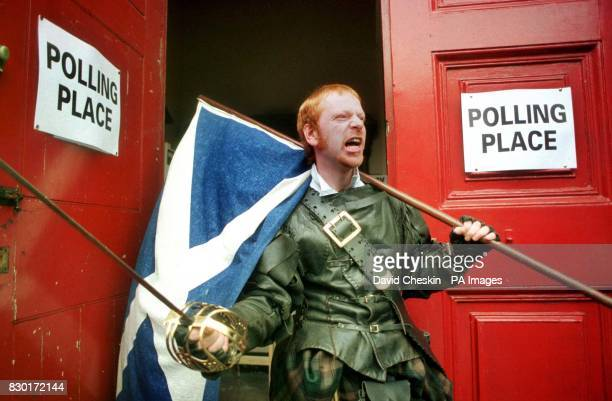 Braveheart John Orr donned in full Highland gear and broadsword outside a polling station in Edinburgh Diehard nationalist Orr had planned to be the...