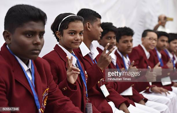 Bravery award winners pose for a group photo during a press conference of National Bravery Awards 2015 on January 18 2016 in New Delhi India...