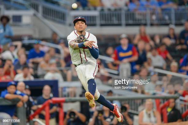 Braves infielder Johan Camargo makes a jump throw during the game between Atlanta and Toronto on July 11th 2018 at SunTrust Park in Atlanta GA The...