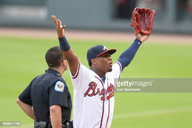 Braves outfielder Ronald Acuna Jr gestures rot the fans prior to the start of the game between Atlanta and Toronto on July 11th 2018 at SunTrust Park...