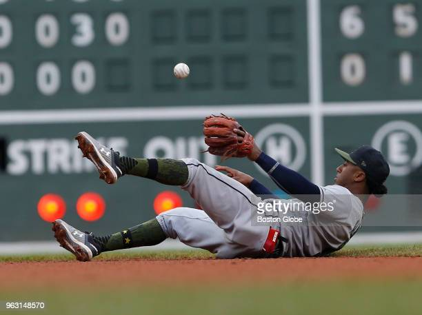 Braves Ozzie Albies catches out Red Sox Xander Bogaerts during the sixth inning of a game between the Boston Red Sox and Atlanta Braves at Fenway...