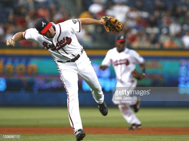Braves third baseman Chipper Jones during the game between the Atlanta Braves and the Philadelphia Phillies at Turner Field in Atlanta, GA on April...