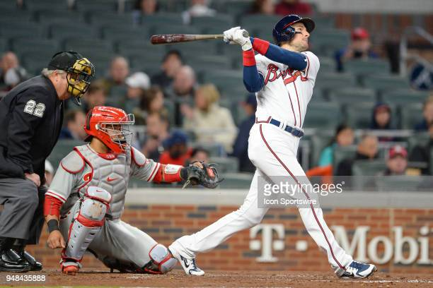 Braves third baseman Ryan Flaherty hits a fly ball during a game between Atlanta and Philadelphia on April 16 2018 at SunTrust Park in Atlanta GA The...