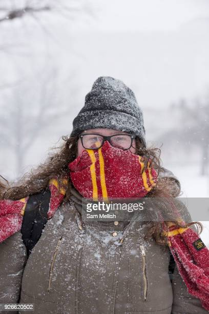 Braving the cold at St James's Park following the arrival of Storm Emma which is set to bring further widespread disruption to many parts of the UK...
