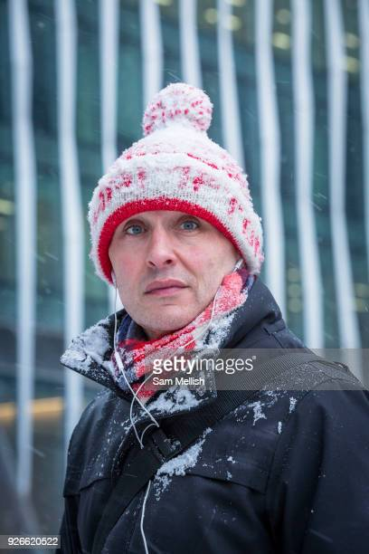Braving the cold following the arrival of Storm Emma which is set to bring further widespread disruption to many parts of the UK on 2nd March 2018 in...