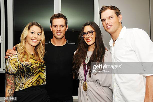 Bravo TV Personalities Liz Margulies and Claudia Martinez Reardon pose with US Olympic Gold Medal Tennis Players Mike Bryan and Bob Bryan at the...