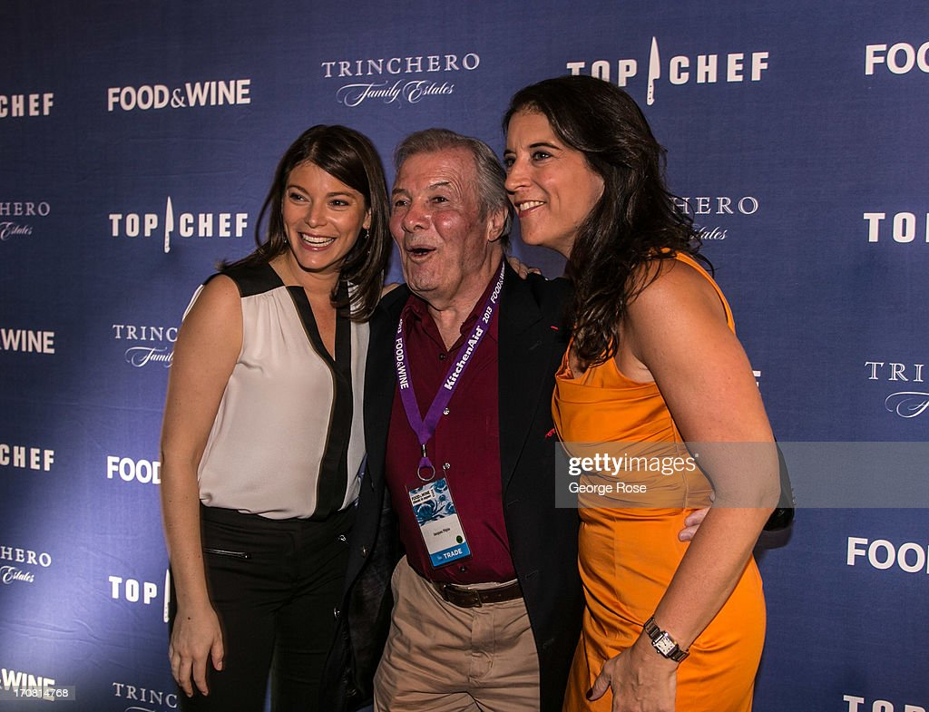 Bravo's Top Chef judge Gail Simmons (L-R) poses with Jacques Pepin and Publisher Christina Grdovic on June 13, 2013, in Aspen, Colorado. The 31st Annual Food & Wine Classic brings together the world's top chefs and vintners in a culinary and beverage celebration.
