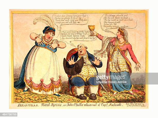 Bravuras Rival Syrens Or Johnbulls Rehearsal Of Capt Macheath Engraving 1807 John Bull Seated With Opera Hat Under His Arm Is Beset By The Rival...