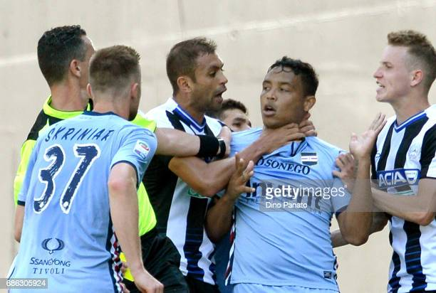 Brawl between Danilo Larangeira of Udinese Calcio and Luis Fernando Muriel of UC Sampdoria after the muriel's goal during the Serie A match between...