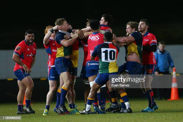 Brawl breaks out during the Mitre 10 Cup preseason match between Tasman and Otago at Trafalgar Park on August 02 2019 in Nelson New Zealand