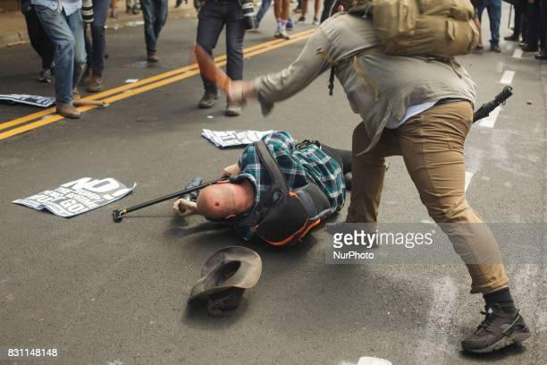 Brawls ensued for about 90 minutes before the police declared the assembly unlawful on 12 August 2017 in Charlottesville Virginia USA The Unite the...