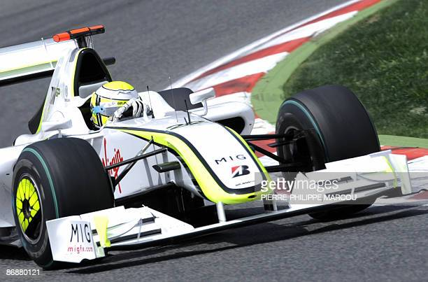Brawn GP's British driver Jenson Button drives at the Circuit de Catalunya, on May 10, 2009 in Montmelo, near Barcelona, during the Formula One...