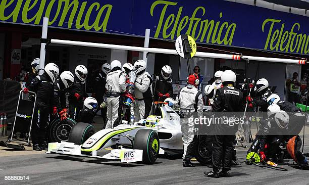Brawn GP's British driver Jenson Button leaves the pits of the Circuit de Catalunya, on May 10, 2009 in Montmelo, near Barcelona, during the Formula...