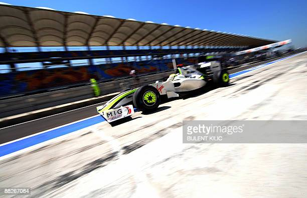 Brawn GP's British driver Jenson Button leaves the pits of the Istanbul Park circuit on June 6, 2009 in Istanbul, during the third free practice...