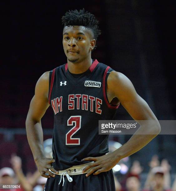 Braxton Huggins of the New Mexico State Aggies looks on during the championship game of the Western Athletic Conference Basketball tournament against...