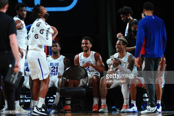 Braxton Key and Rayjon Tucker of the Delaware Blue Coats shares a laugh on the sidelines during the NBA G League Playoffs on March 9, 2021 at...