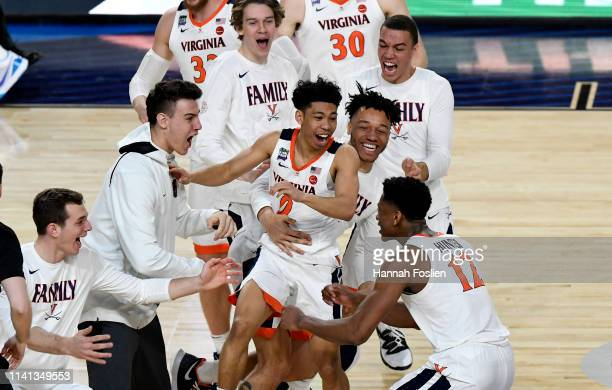 Braxton Key and the Virginia Cavaliers celebrate their teams 8577 win over the Texas Tech Red Raiders to win the the 2019 NCAA men's Final Four...