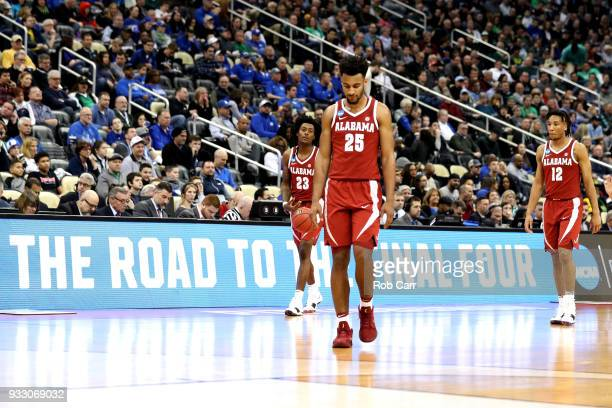 Braxton Key of the Alabama Crimson Tide reacts against the Villanova Wildcats during the second half in the second round of the 2018 NCAA Men's...
