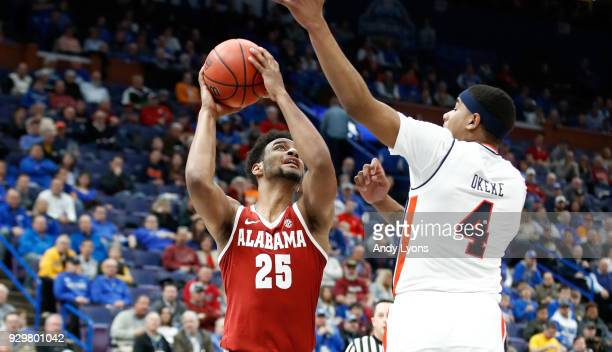 Braxton Key of the Alabama Crimson Tide shoots the ball against the Auburn Tigers during the quarterfinals round of the 2018 SEC Basketball...