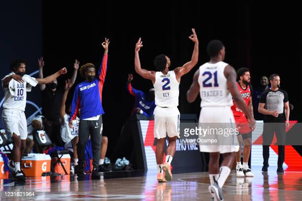 Braxton Key of the Delaware Blue Coats reacts to three point basket against the Raptors 905 during the NBA G League Playoffs on March 9, 2021 at...