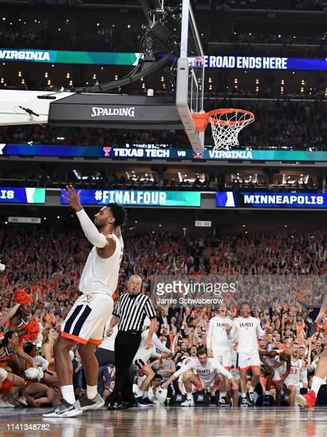 Braxton Key of the Virginia Cavaliers celebrates a made dunk against the Texas Tech Red Raiders during overtime of the 2019 NCAA men's Final Four...