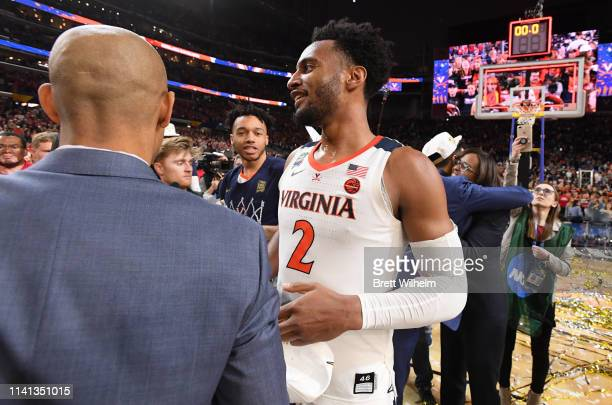 Braxton Key of the Virginia Cavaliers celebrates after defeating the Texas Tech Red Raiders in the 2019 NCAA men's Final Four National Championship...