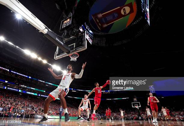 Braxton Key of the Virginia Cavaliers celebrates his dunk late in overtime against the Texas Tech Red Raiders during the 2019 NCAA men's Final Four...