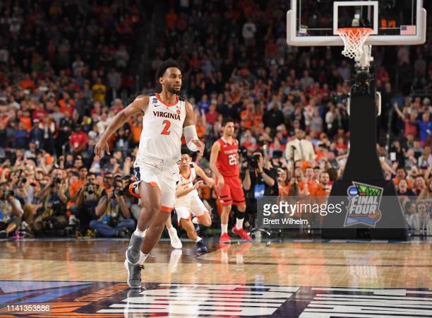 Braxton Key of the Virginia Cavaliers celebrates in the final seconds of the team's National Championship victory against the Texas Tech Red Raiders...