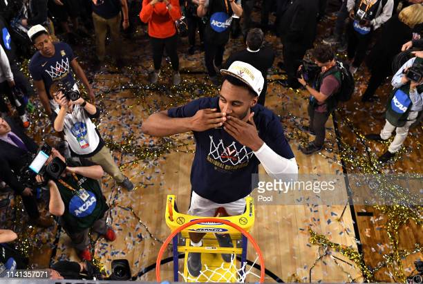 Braxton Key of the Virginia Cavaliers cuts the net down after his teams 8577 win over the Texas Tech Red Raiders in the 2019 NCAA men's Final Four...