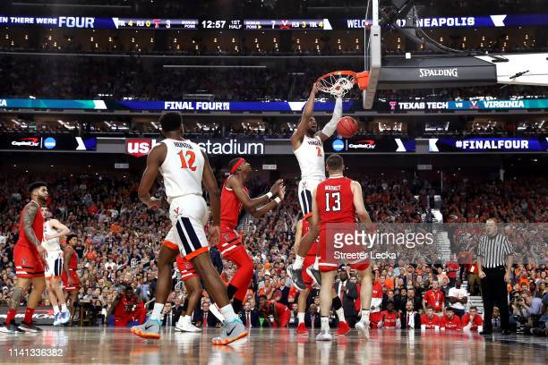 Braxton Key of the Virginia Cavaliers dunks the ball against the Texas Tech Red Raiders in the first half during the 2019 NCAA men's Final Four...