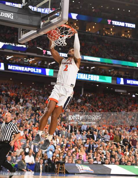 Braxton Key of the Virginia Cavaliers dunks the ball against the Texas Tech Red Raiders during overtime of the 2019 NCAA men's Final Four National...