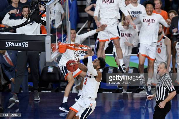 Braxton Key of the Virginia Cavaliers dunks the ball at the end of overtime against the Texas Tech Red Raiders during the 2019 NCAA men's Final Four...