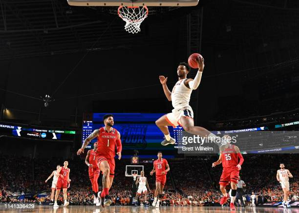 Braxton Key of the Virginia Cavaliers reaches for a rebound against the Texas Tech Red Raiders during the first half in the 2019 NCAA men's Final...