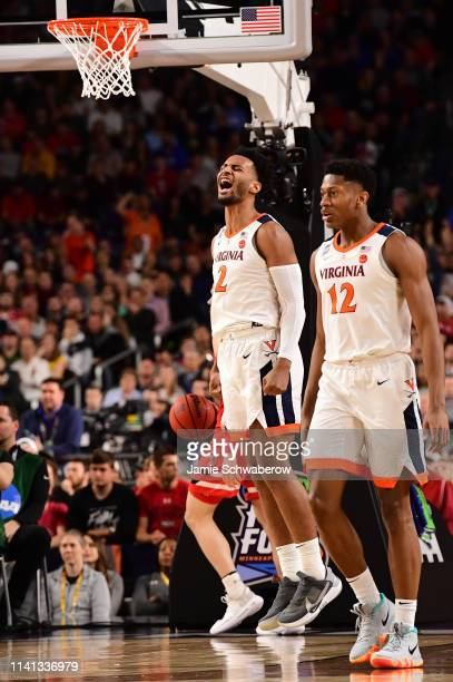 Braxton Key of the Virginia Cavaliers reacts after dunking during the first half in the 2019 NCAA men's Final Four National Championship game at US...