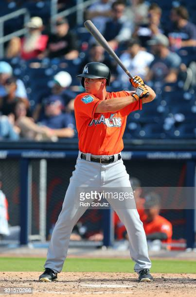 Braxton Lee of the Miami Marlins in action against the Houston Astros during a spring training game at Fitteam Ballpark of the Palm Beaches on March...