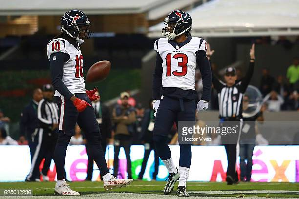 Braxton Miller of Houston Texans celebrates after a touchdown during the NFL football game between Houston Texans and Oakland Raiders at Azteca...