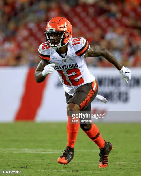 Braxton Miller of the Cleveland Browns runs a route during a preseason game against the Tampa Bay Buccaneers at Raymond James Stadium on August 23,...
