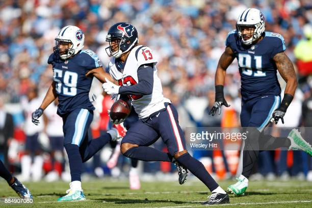 Braxton Miller of the Houston Texans runs with the ball after a reception against the Tennessee Titans during the first half at Nissan Stadium on...