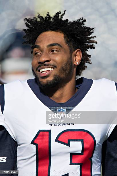 Braxton Miller of the Houston Texans warming up before a game against the Tennessee Titans at Nissan Stadium on December 3 2017 in Nashville...