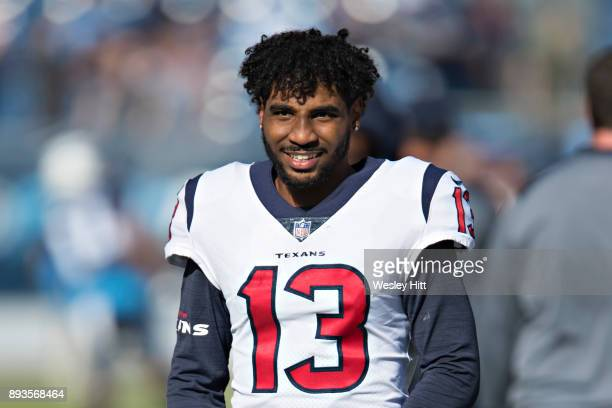 Braxton Miller of the Houston Texans warming up before a game against the Tennessee Titans at Nissan Stadium on December 3, 2017 in Nashville,...