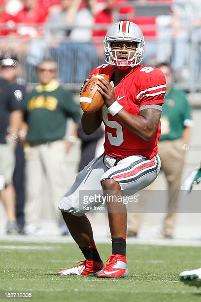 Braxton Miller of the Ohio State Buckeyes looks to throw the ball during the game against the University of Alabama at Birmingham Blazers on...