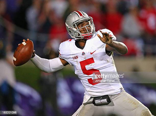 Braxton Miller of the Ohio State Buckeyes passes against the Northwestern Wildcats at Ryan Field on October 5, 2013 in Evanston, Illinois. Ohio State...