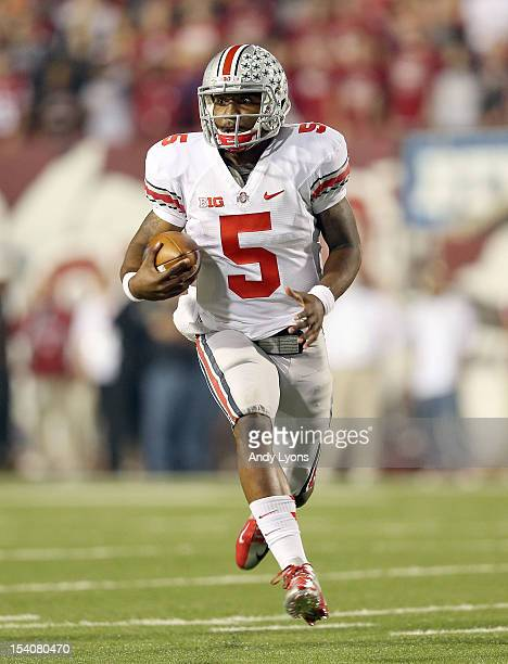 Braxton Miller of the Ohio State Buckeyes runs with the ball during the game against the Indiana Hoosiers at Memorial Stadium on October 13, 2012 in...