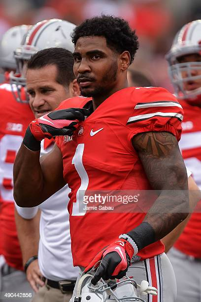 Braxton Miller of the Ohio State Buckeyes takes a breather before a game against the Western Michigan Broncos at Ohio Stadium on September 26 2015 in...