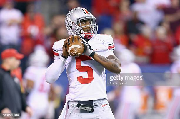 Braxton Miller of the Ohio State Buckeyes throws a pass before the Big Ten Championship against the Michigan State Spartans at Lucas Oil Stadium on...