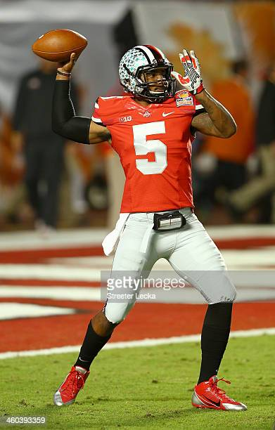 Braxton Miller of the Ohio State Buckeyes warms up prior to the Discover Orange Bowl against the Clemson Tigers at Sun Life Stadium on January 3 2014...