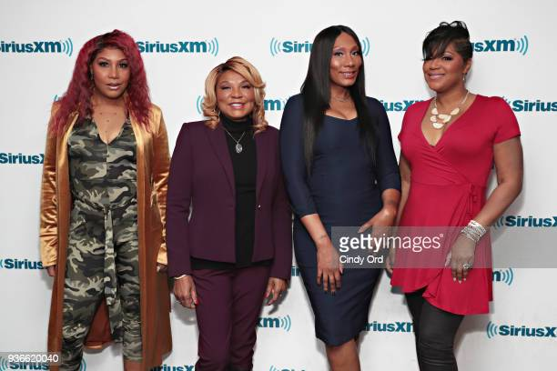 Braxton sisters Evelyn Braxton, Towanda Braxton, Trina Braxton and Traci Braxton visit the SiriusXM Studios on March 22, 2018 in New York City.